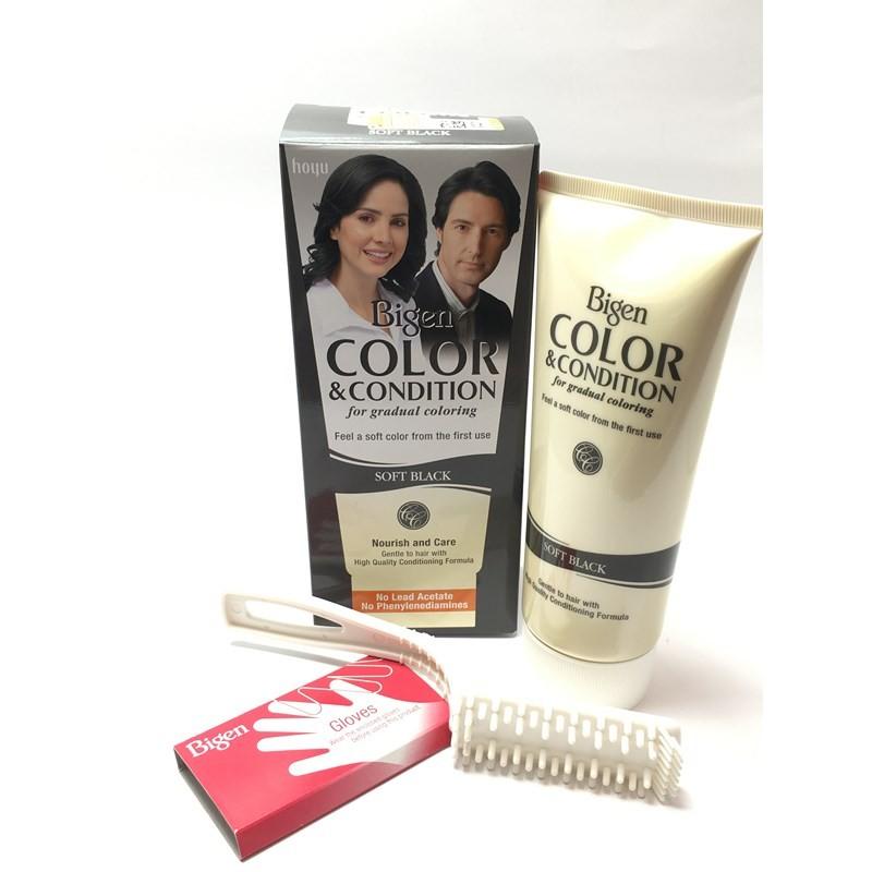 رنگ مو و نرم کننده مو زنانه و مردانه مشکی کالر بیگن Bigen Color & Condition