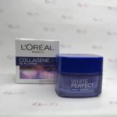 کرم روشن کننده شب لورال مدل White Perfect Night Cream حجم 50 میل - L'Oréal